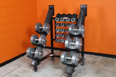 Black Iron Heavy Dumbbell set with rack - used
